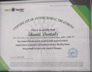 Certificate of Antimicrobial Treatment for shanti dentals